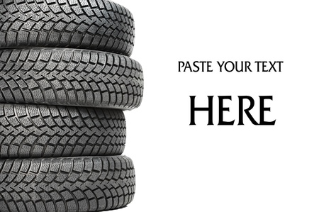 car tires: Stack of four car wheel winter tires isolated