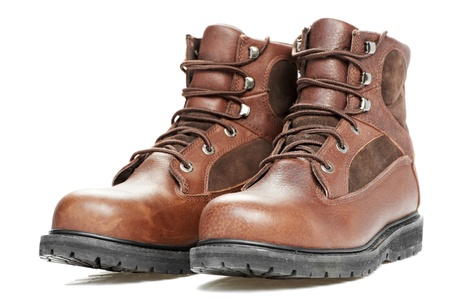 steel toe boots: new work wear boots on white background