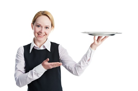 food stuff: woman waiter with metal cloche lid cover