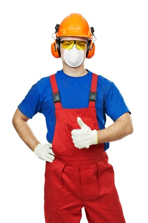 builder in hardhat, earmuffs, goggles and gas mask Stock Photo - 11702077