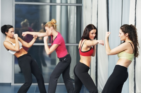 healthy woman at fitness fighting training  photo