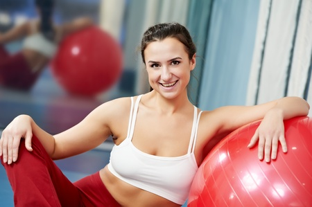 shaping: Happy healthy woman with fitness ball