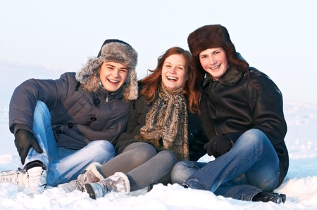 positiv: group of happy young people in winter Stock Photo