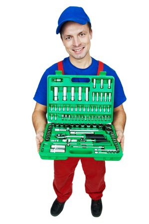 serviceman repairman automobile mechanic with car Socket Wrench Set isolated photo