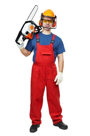Lumberjack Worker in protective safety equipment With Chainsaw isolated photo