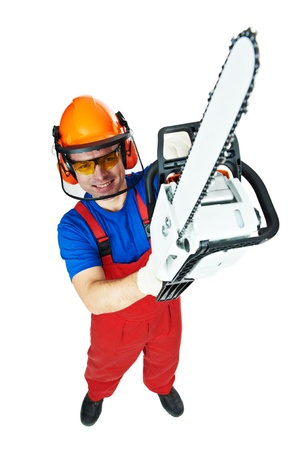 logger: Lumberjack Worker in protective safety equipment With Chainsaw isolated Stock Photo