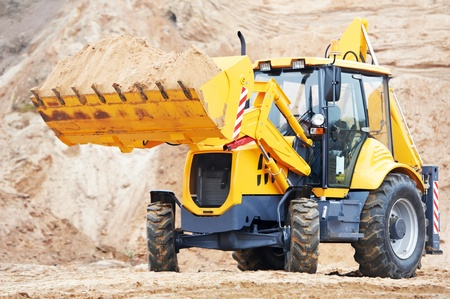 sand quarry: Excavator Loader with backhoe works