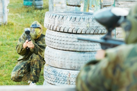 two paintball players photo