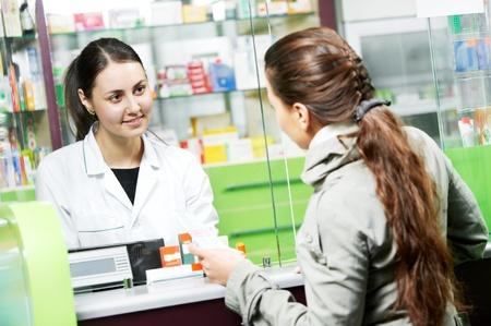 pharmacist: medical pharmacy drug purchase Stock Photo