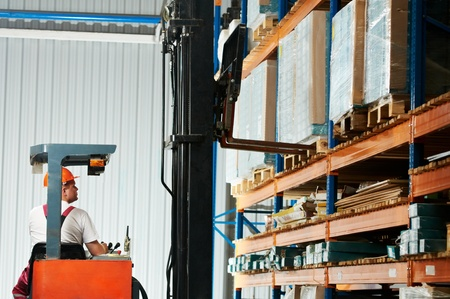 directing: distribution in warehouse with forklift