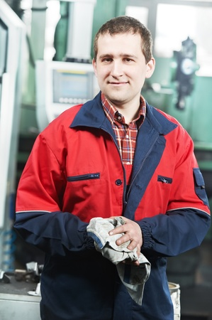 experienced operator: worker at tool workshop Stock Photo