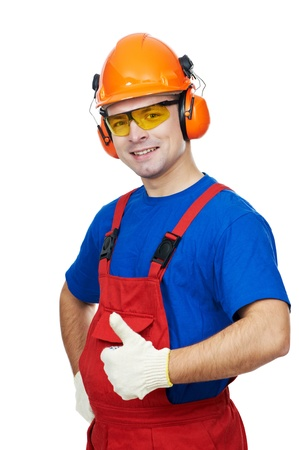 earmuffs: builder in hardhat, earmuffs, goggles and gas mask