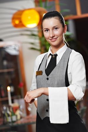 barman: Waitress girl of commercial restaurant