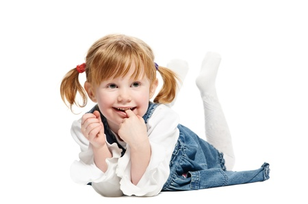 foot girl: One funny playful little girl on white background