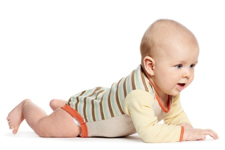 baby boys: little laughing crawling baby on white