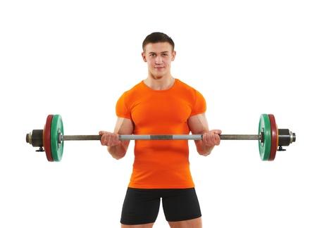 bodybuilder man doing biceps muscle exercises photo