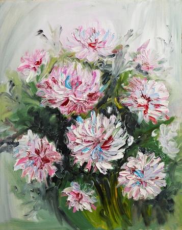 hand schilderen: olieverf boeket van pioenrozen