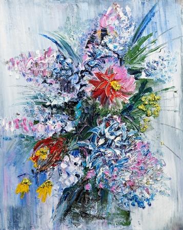 hand schilderen: olieverfschilderij boeket van lentebloemen