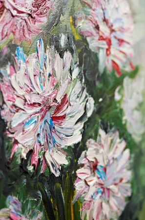 Closeup oil painting bouquet of peony flowers photo