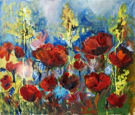 impressionism: oil painting picture of red spring poppy