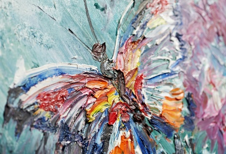 closeup fragment of oil painting butterfly photo