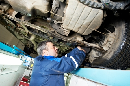 scheduled: auto mechanic at wheel alignment work with spanner