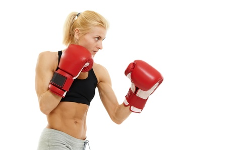 tough girl: boxer woman with red boxing gloves Stock Photo