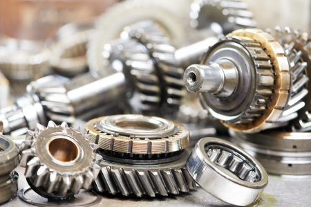 Close-up of automobile engine gears photo