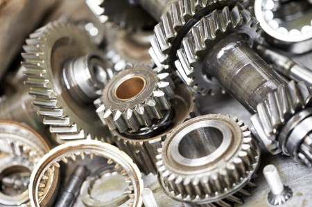 bearings: Close-up of automobile engine gears Stock Photo
