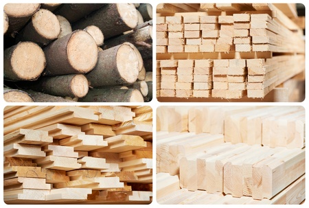 Set of wood lumber materials photo