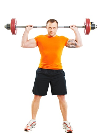 bodybuilder man doing muscle exercises photo