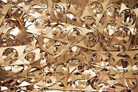 Brass metal scrap materials recycling backround photo