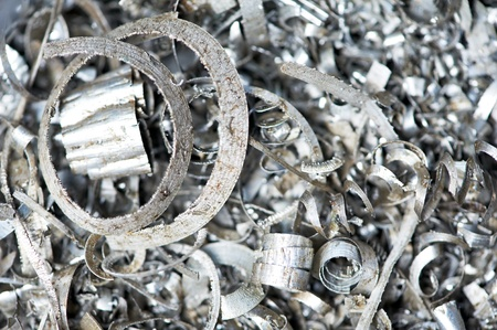 metal recycling: steel metal scrap materials recycling backround Stock Photo