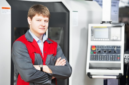 laborer worker with machining tool center Stock Photo - 13425783