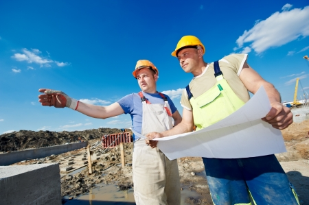 Engineers builders at construction site Stock Photo - 13425809