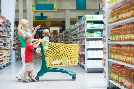 woman and children making shopping Stock Photo