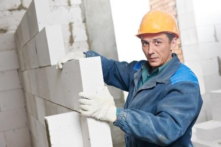 construction mason worker bricklayer Stock Photo