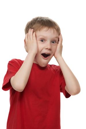 surprise face: little boy in strong wonder