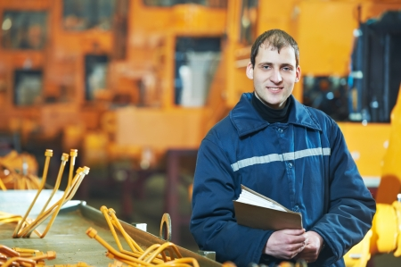 the assembler: Portrait of experienced industrial engineer Stock Photo