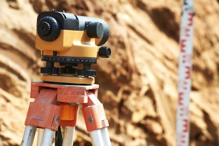 tacheometer: surveyor equipment outdoors