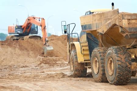 wheel loader excavator and tipper dumper photo