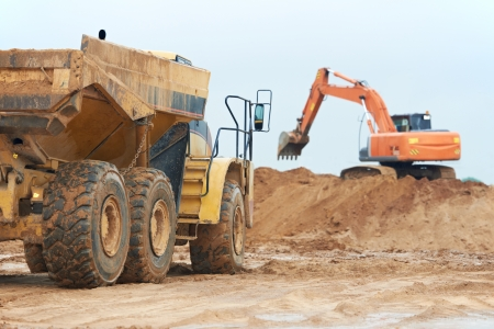 mining truck: wheel loader excavator and tipper dumper Stock Photo