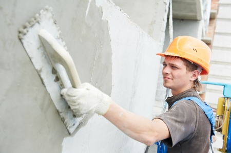 facade builder plasterer at work Stock Photo - 14031397