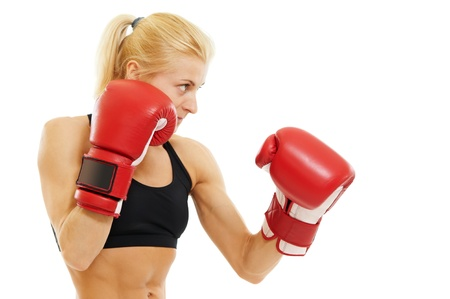 female boxer: boxer woman with red boxing gloves Stock Photo