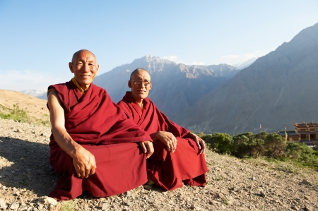 buddhist monk: Two Indian tibetan monk lama