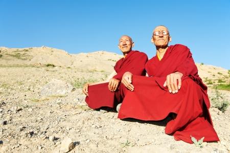 ascetic: Two Indian tibetan monk lama