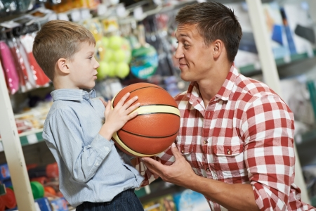 Father man with son boy shopping sport goods