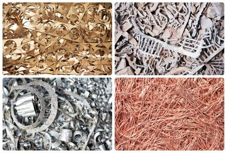Set Metall Kupfer Messing Stahl Schrott-Recycling Hintergrund Stanzabfälle Standard-Bild