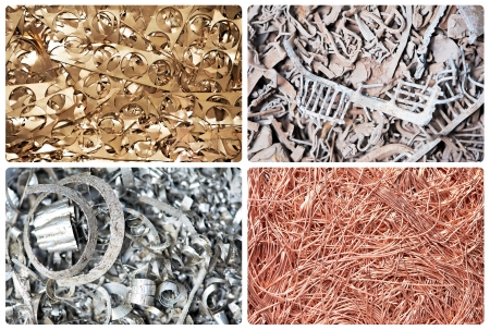 metal recycling: Set of metal copper brass steel scrap materials recycling background of punching waste Stock Photo