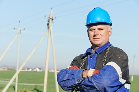 lineman: Portrait of electrician power lineman